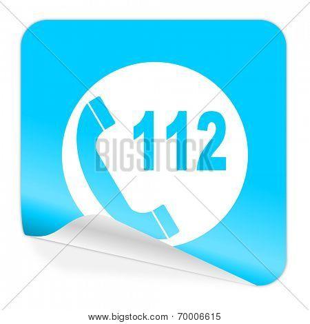 emergency call blue sticker icon