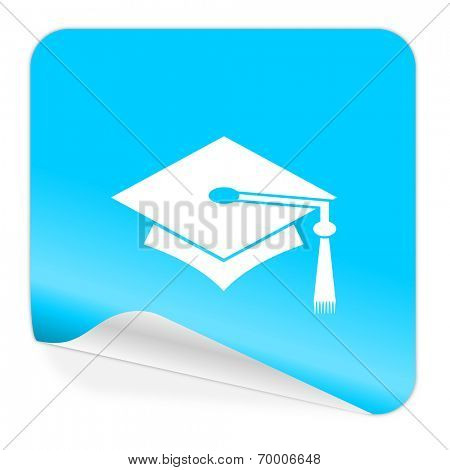 education blue sticker icon