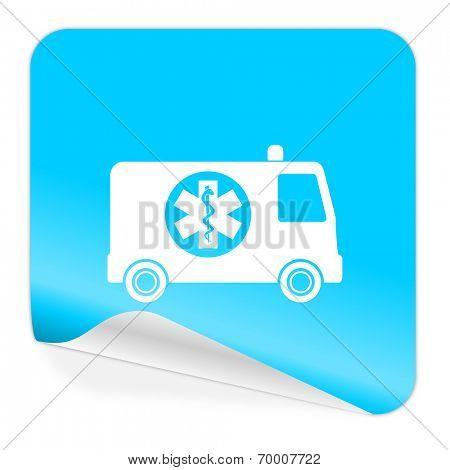 ambulance blue sticker icon