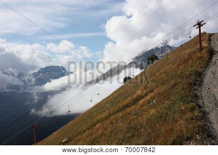 Mountains, Autumn Colors And Beautiful Clouds
