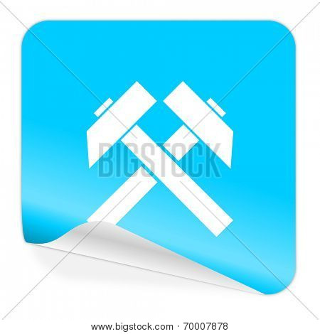 mining blue sticker icon