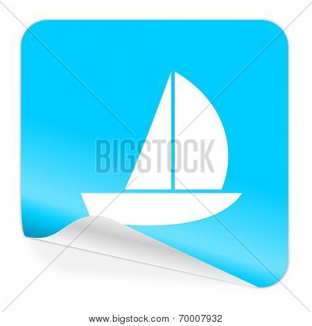 yacht blue sticker icon