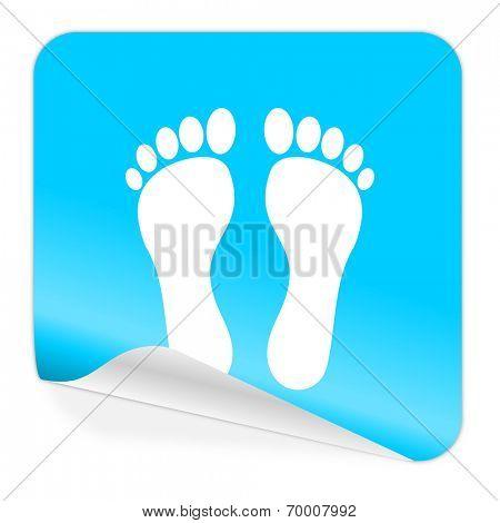 foot blue sticker icon