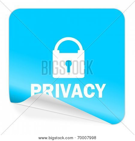 privacy blue sticker icon