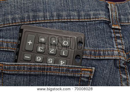 Office Calculator In The Back Pocket Of Jeans
