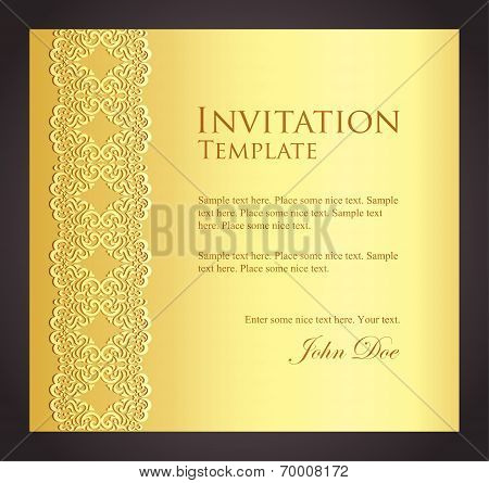 Luxury Golden Invitation With Imitation Of Lace