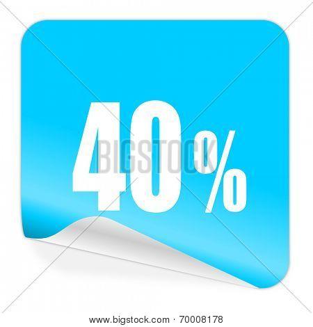 40 percent blue sticker icon
