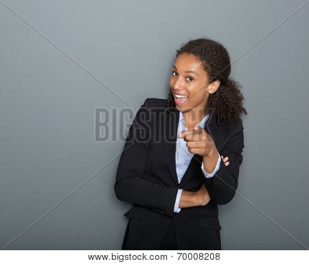 Young Business Woman Pointing Finger At You