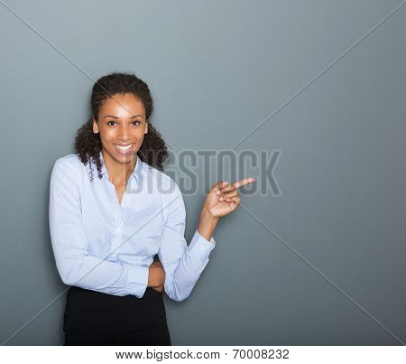 Confident Business Woman Pointing Finger