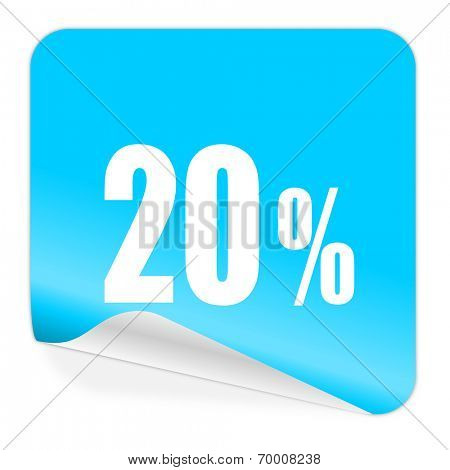 20 percent blue sticker icon