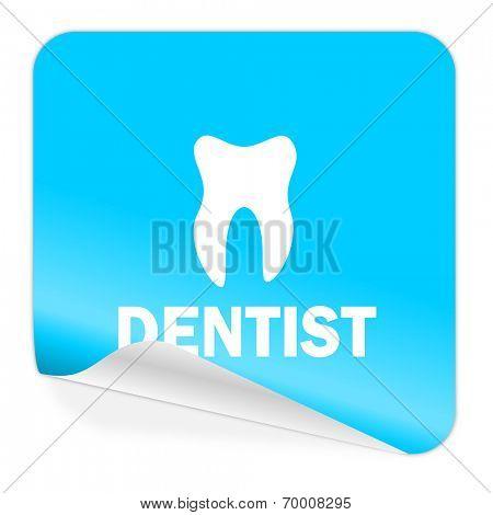 dentist blue sticker icon