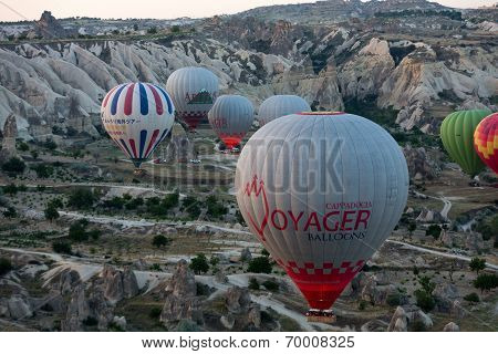 Cappadocia Turkey.The greatest tourist attraction of Cappadocia the flight with the balloon at sunri