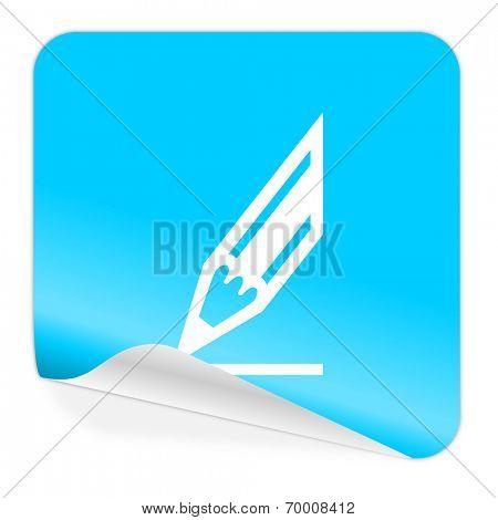 pencil blue sticker icon