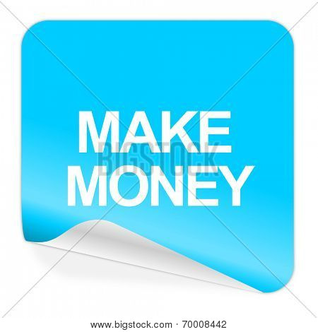 make money blue sticker icon