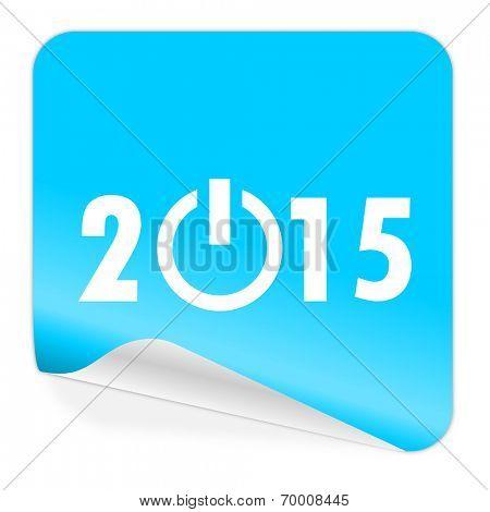 new year 2015 blue sticker icon