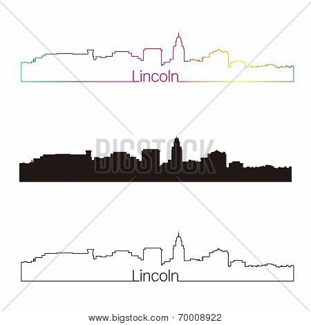 Lincoln Skyline Linear Style With Rainbow