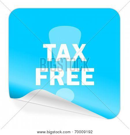 tax free blue sticker icon