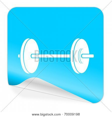 fitness blue sticker icon