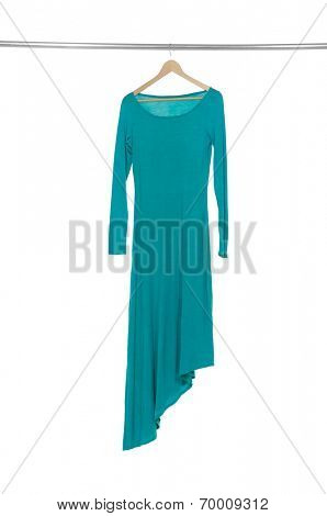 female blue sundress isolated hanging on wooden hangers