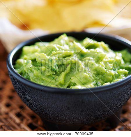 mexican guacamole in molcajete bowl