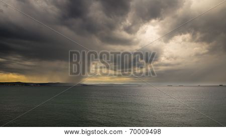A Storm In The Sea In Front Of The City