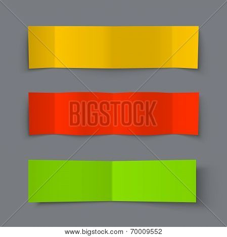 Set of Bended Paper Colorful Banners with shadows
