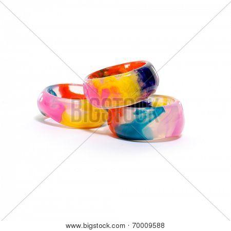 Colorful stack three bangles