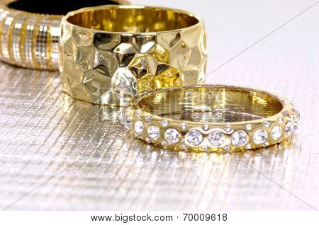 Set of glamour shot of diamond bracelet