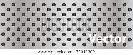 Vector eps concept conceptual gray metal stainless steel aluminum perforated pattern texture mesh banner background