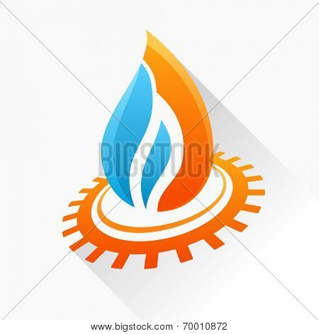 Vector symbol fire with gear. Orange and blue flame glass icon with long shadow isolated