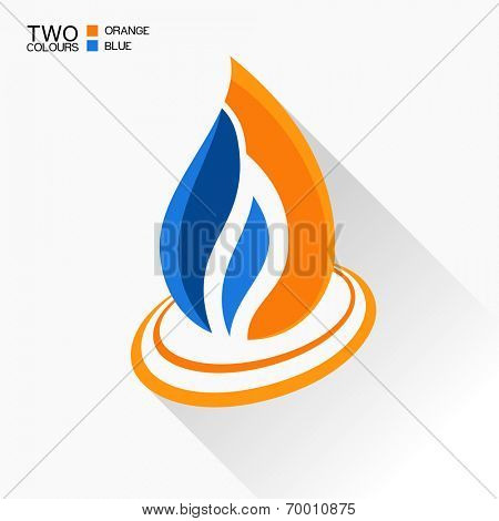 Vector symbol fire. Dark blue and orange flame glass icon with long shadow isolated