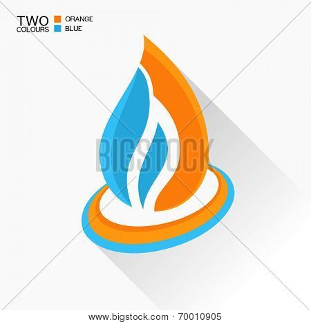 Vector symbol fire. Blue and orange flame glass icon with long shadow isolated