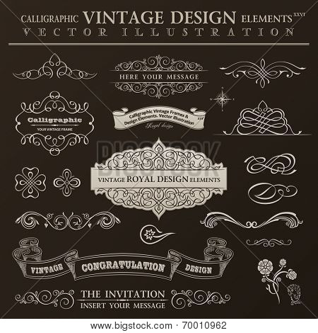 Calligraphic design elements vintage set. Vector ornament frames and scroll ribbon elements