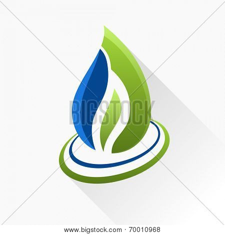 Vector symbol fire. Blue and green flame glass icon with long shadow isolated