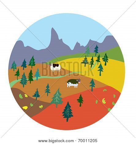 Autumn landscape for mountain farm
