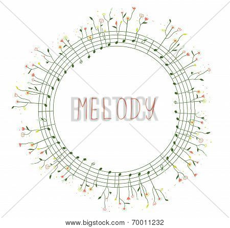 Musical frame with notes and flowers