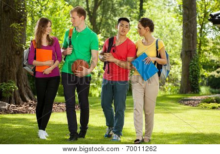 Happy College Students Outdoors
