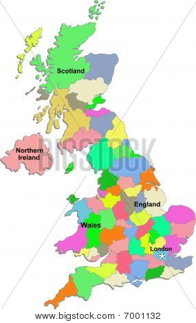Uk map on a white background