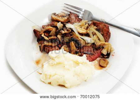 Steak With Mushrooms And Onions With Mashed Potatoes