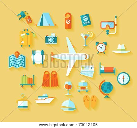Flat design style modern vector illustration icons set of traveling on airplane, planning a summer v