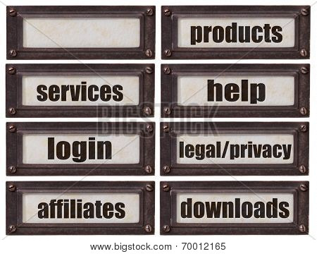 set of words related to a design of a commercial website  - file cabinet labels in  bronze holder including a blank one