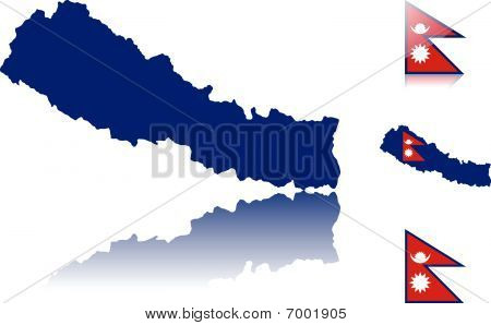 Nepal map and flags