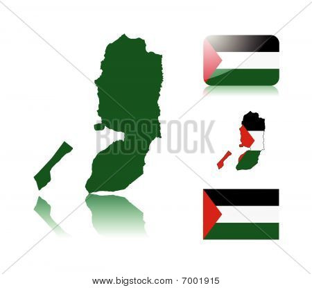 Palestinian map and flags
