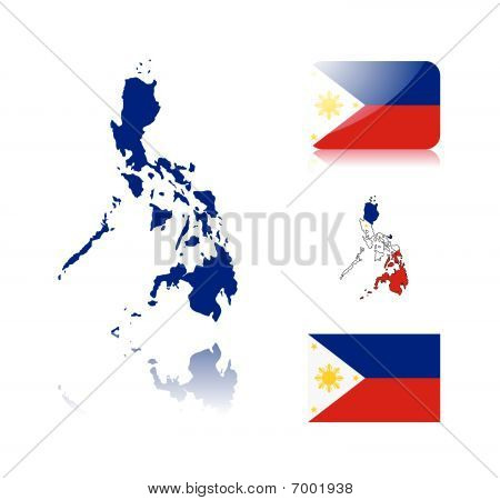 Philippine map and flags