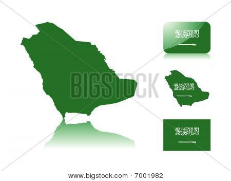 Saudi Arabian map and flags