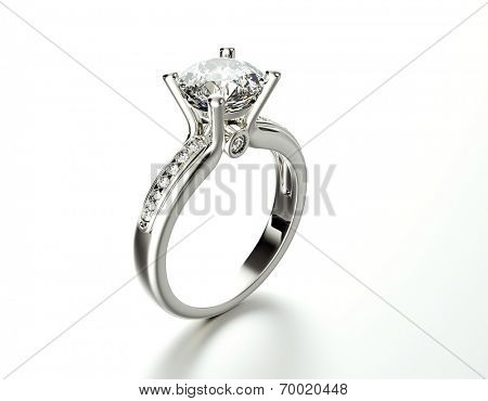 Golden Engagement Ring with Diamond. Jewelry background poster