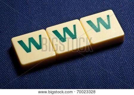 World Wide Web Www Plastic Letter Symbol On Blue Background