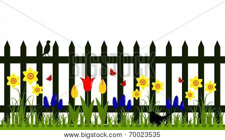 Fence With Spring Flowers