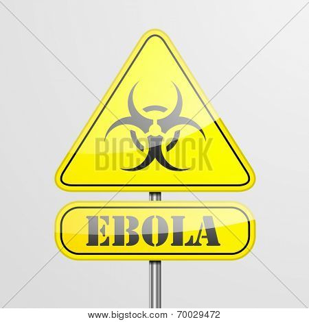 detailed illustration of a ebola warning roadsign, eps10 vector