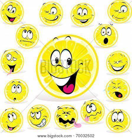 Lemon Cartoon With Many Expressions